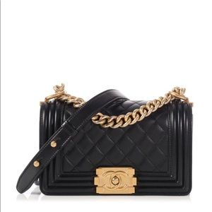Chanel black lambsking GHD small le boy Authentic